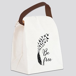 Be free, feather with flying birds Canvas Lunch Ba