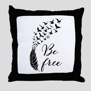 Be free, feather with flying birds Throw Pillow
