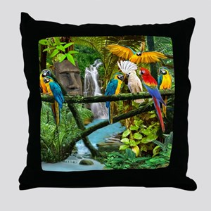 Parrots of the Hidden Jungle Throw Pillow