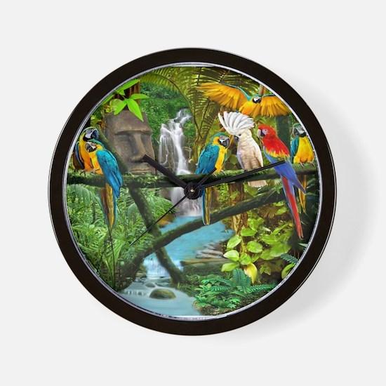 Parrots of the Hidden Jungle Wall Clock