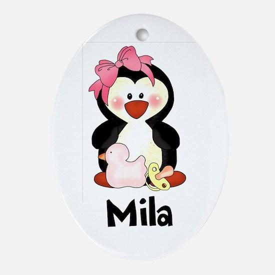 Mila's Penguin Oval Ornament