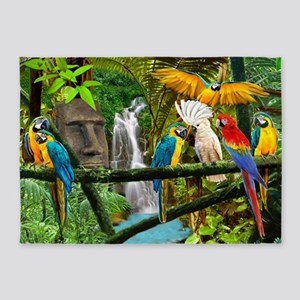 Parrots of the Hidden Jungle 5'x7'Area Rug