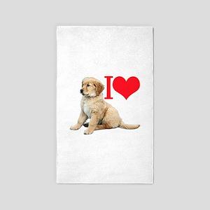 I hart retriever pup Area Rug