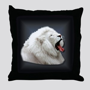White Lion on black Throw Pillow