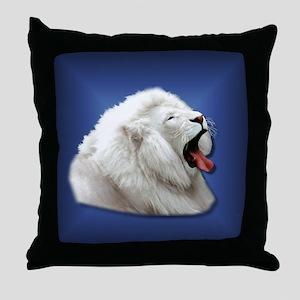 White Lion on Blue Throw Pillow