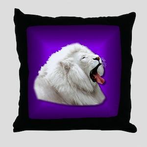 White Lion on Purple Throw Pillow