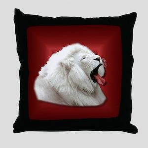 White Lion on Red Throw Pillow