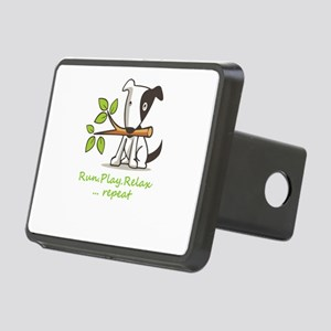 Run,play,relax,..repeat Rectangular Hitch Cover