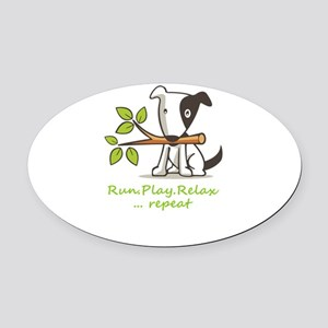 Run,play,relax,..repeat Oval Car Magnet