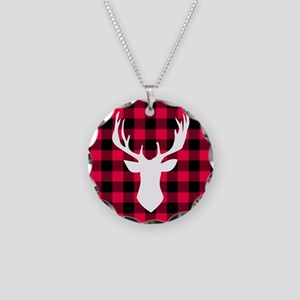 Buffalo Plaid Deer Necklace Circle Charm