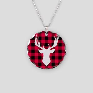 Buffalo Plaid Deer Necklace Circle Charm