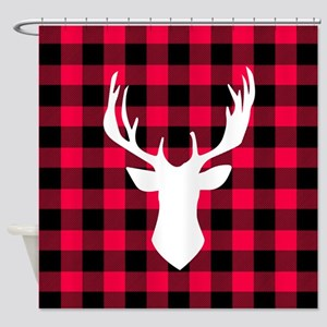 Buffalo Plaid Deer Shower Curtain