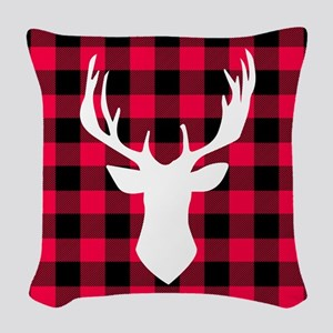 Buffalo Plaid Deer Woven Throw Pillow