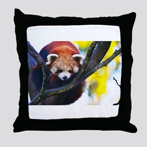 Red Panda Perched Throw Pillow