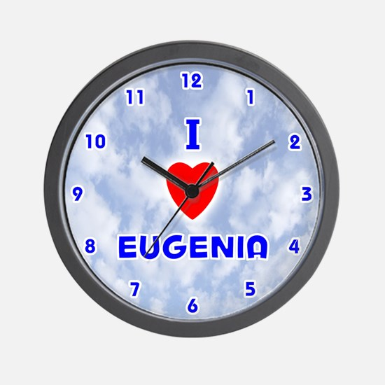 I Love Eugenia (Blue) Valentine Wall Clock