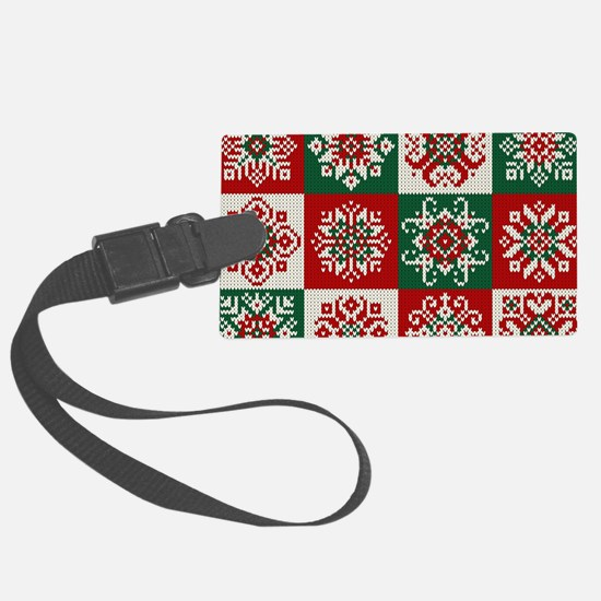 Knitted Christmas Pattern Luggage Tag