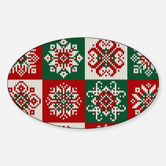 Knitted Christmas Pattern Sticker (Oval)