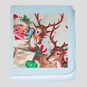 Vintage Santa and Reindeer baby blanket