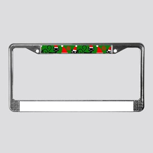 christmas santa cats License Plate Frame