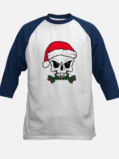 Christmas mistletoe skull Kids Baseball Jersey