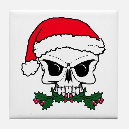 Christmas mistletoe skull Tile Coaster
