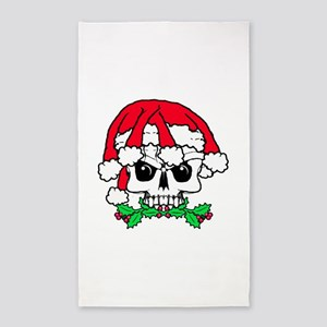 Dread head Santa skull. Area Rug