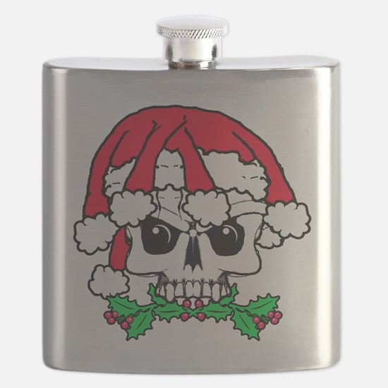 Dread head Santa skull. Flask