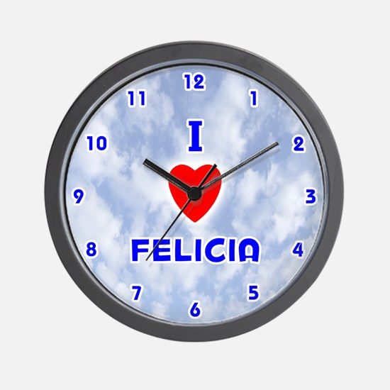 I Love Felicia (Blue) Valentine Wall Clock