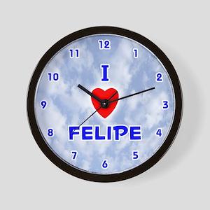 I Love Felipe (Blue) Valentine Wall Clock