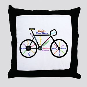 Bike made up of words to motivate Throw Pillow