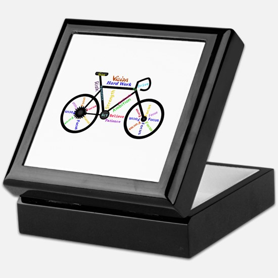 Bike made up of words to motivate Keepsake Box