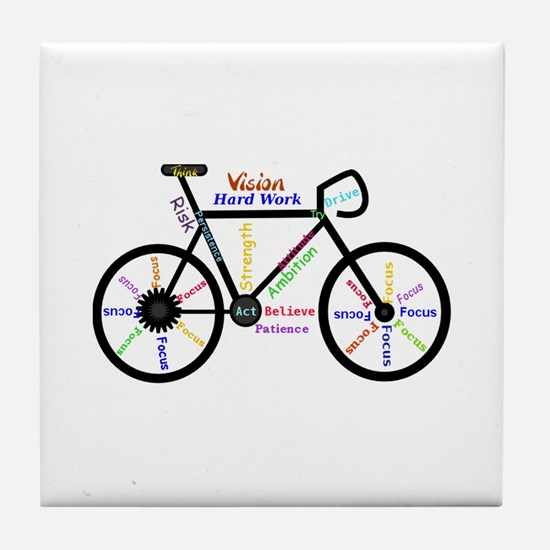Bike made up of words to motivate Tile Coaster