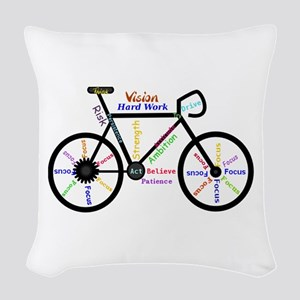 Bike made up of words to motivate Woven Throw Pill