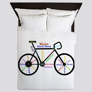 Bike made up of words to motivate Queen Duvet
