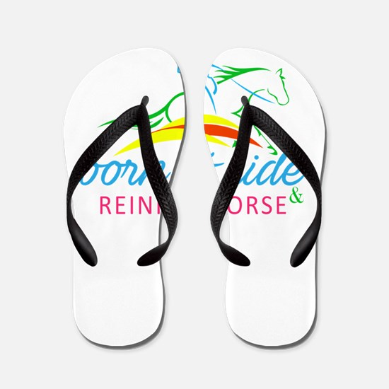 born to ride & reining horse Flip Flops