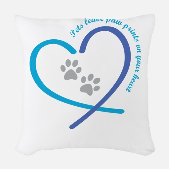 pets leave paw prints on your Woven Throw Pillow