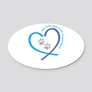 pets leave paw prints on your hear Oval Car Magnet