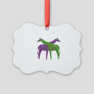 Bright Giraffes Picture Ornament