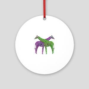 Bright Giraffes Round Ornament