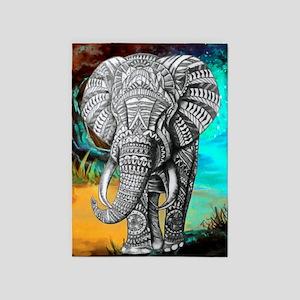 African Elephant 5'x7'area Rug