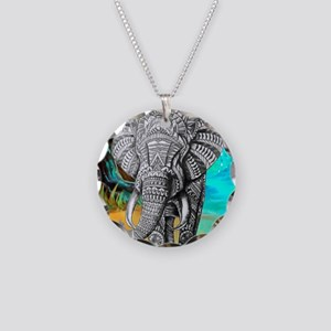 African Elephant Necklace Circle Charm
