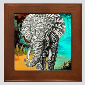 African Elephant Framed Tile