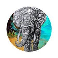 African Elephant Round Ornament