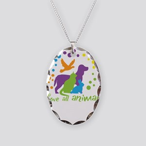 love all animals Necklace Oval Charm