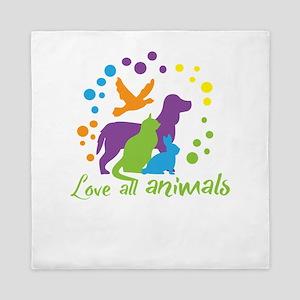 love all animals Queen Duvet