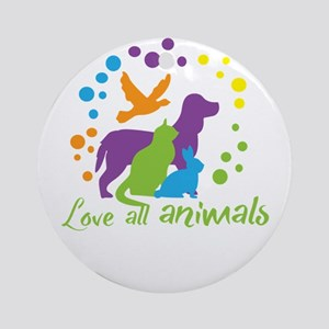 love all animals Round Ornament