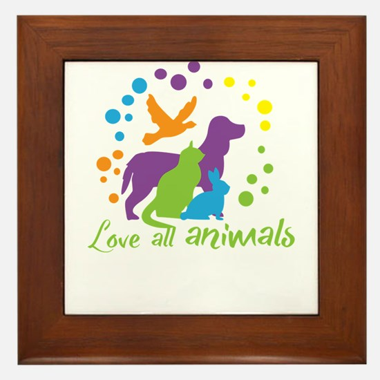 love all animals Framed Tile