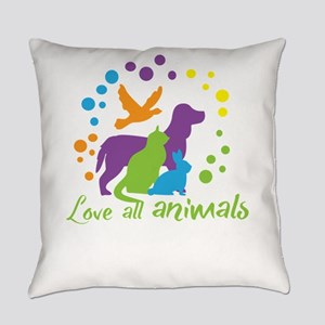 love all animals Everyday Pillow