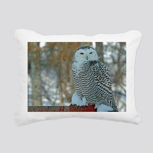 Snowy Owl Rectangular Canvas Pillow
