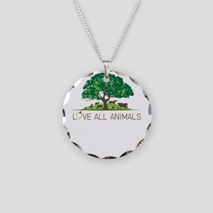 love all animals Necklace Circle Charm